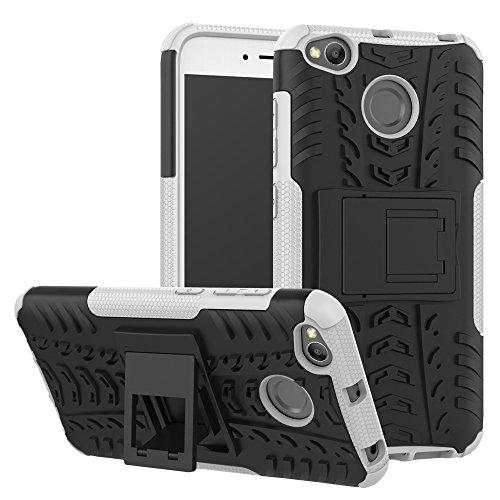 Ququcheng Kompatibel mit Xiaomi Redmi 4X Hülle,PC/TPU Doppelschicht Schutzhülle+Panzerglas Schutzfolie Hohe Qualität Case Hülle Cover mit Ständer Handyhülle Für Xiaomi Redmi 4X-Weiß