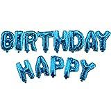13tlg Luftballon HAPPYBIRTHDAY Folienballon Buchstabe Geburtstag Party Deko Blau