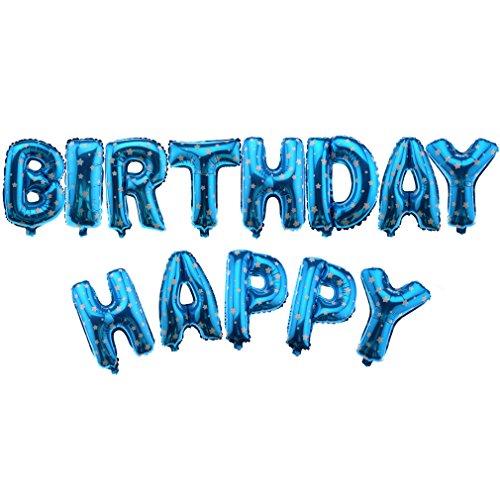 PYBIRTHDAY Folienballon Buchstabe Geburtstag Party Deko Blau (Blaue Buchstaben)