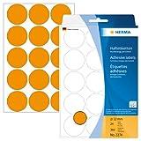 Herma 2274 Vielzwecketiketten bunt, rund (Ø 32 mm) neon orange, 360 Klebepunkte, 24 Blatt, Papier, selbstklebend
