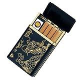 Zigarettenanzünder-Hülle von Sunwbak, Gleit-Zigarettenetui hält 8Standard-Zigaretten mit Spiral-Zigarettenanzünder, über USB aufladbarer elektronischer Zigarrenanzünder, windfest. Gold Dragon