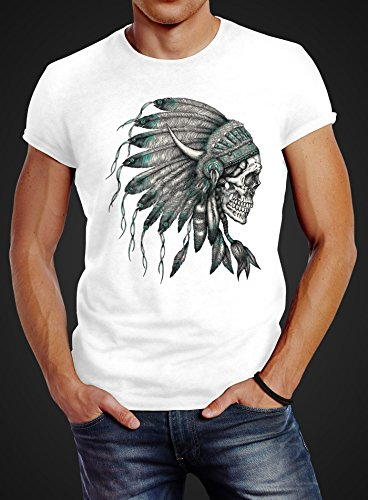 Herren T-Shirt Indianer Federn Häuptling Totenkopf Skull Feather Neverless® Weiß