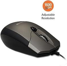 Amkette Weego Pro Optical Mouse Ergonomic Design Adjustable 1600 DPI Resolution (Grey-Black)