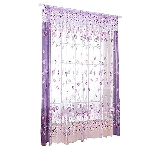 WINOMO Transparente Voile Vorhänge Gardine Schal für Schlafzimmer Wohnzimmer Blumen Druck
