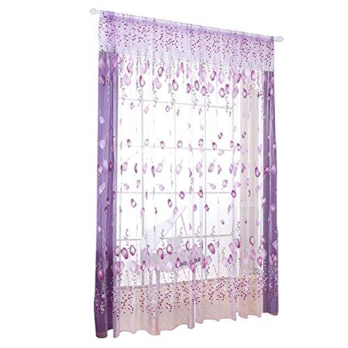 Tenda di tulle winomo tende trasparente con stampa di fiori 100 x 200 cm (viola)