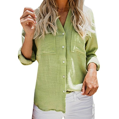 Lazzboy Womens Shirt Blouse Long Sleeve Cotton Linen Stand Collar Casual Solid Button Pocket Tops(XL(14),Green)