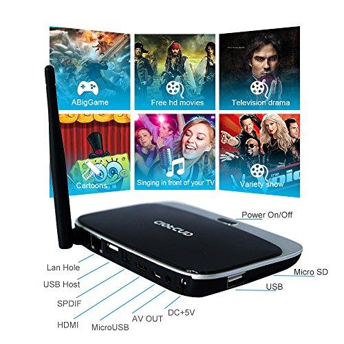 YUNTAB Android tv box Quad Core 2GB Ram 8GB Flash WiFi Android 4.4 TV Mini Pc CS918 Supporto 3D XBMC DLNA WiMo per Netflix Youtube SKYPE MSN Facebook Twitter Uscita HDMI AV RJ45 LAN OTG IR Telecomando