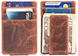 RAWHYD Genuine Leather Minimalist Wallet with Magnetic Money Clip - Made from 100%
