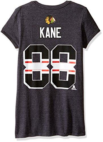 Adidas Jersey Cap (Reebok Adidas Patrick Kane Chicago Blackhawks Player Schwarz Jersey T-Shirt Damen, Damen, Name & Number Cropped Stripe Cap Sleeve Tee, Schwarz, Medium)