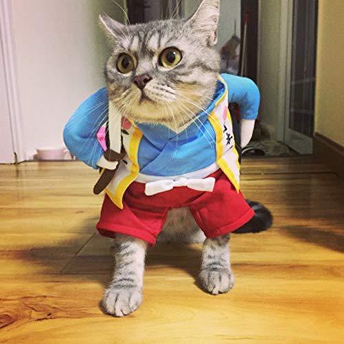 NimbleMinLki Samurai-Outfit, warm, aufrecht, für Halloween, Party, Hund und Katze, Cosplay, Größe S, Kunstleder, Large