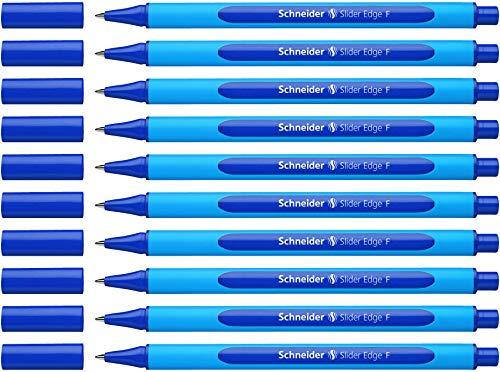 Schneider Slider Edge F Kugelschreiber (Strichstärke: F, dokumentenecht, Dreikant-Stift) 10er Packung blau