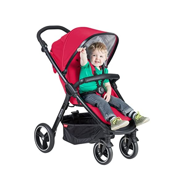 """Phil&teds Smart Buggy Pushchair, Cherry phil&teds Foot fold - intuitive, compact, one-piece standing foot fold - a world's first of its kind - is only 23"""" wide, making it perfect for tight city spaces Smooth ride tires - super-smooth, hassle-free riding with 10"""" rear puncture-proof, aerotech wheels and suspension on all four wheels; convenient hand-operated parking brake offers easy braking control at your fingertips Lightweight - stroller weighs 23.5 lbs. and includes a main, full-size seat that holds up to 44 lbs., an extendable leg and a sun hood with zip-out extension and silent peek-a-boo flap 4"""