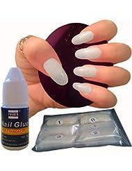 600pièces Ongles ovales 10tailles–Faux Ongles Courts Medium Coque intégrale Naturel Acrylique opaque Faux ongles pour les salons de vernis à ongles et nail art DIY –-Colle gratuit