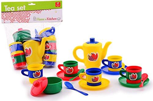 Kinder-Küchen Tee-Service Kaffee-Service 17 teilig Kinder-Spielzeug Puppen-Geschirr Spiel-Set...