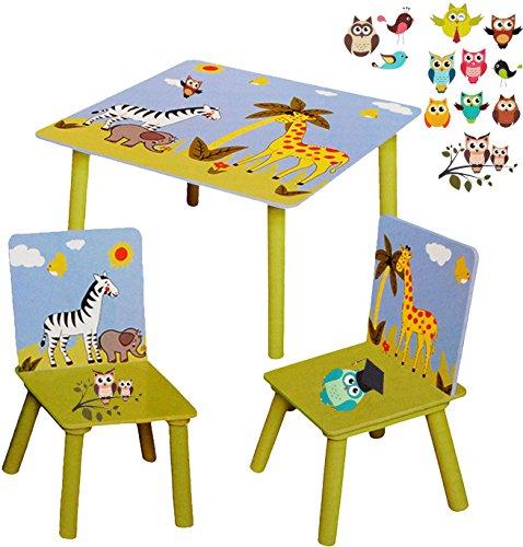 """Preisvergleich Produktbild 3 tlg. Set: Sitzgruppe / Sitzgarnitur für Kinder - sehr stabiles Holz - """" Zootiere - Zebra & Giraffe & bunte Eulen """" - Tisch + 2 Stühle / Kindermöbel für Jungen & Mädchen - Kindertisch - Kinderstuhl - Kinderzimmer für circa 1 - 3 Jahre - Kindersitzgruppe / Stühlen - Kindertischgruppe / Kinderstühle - Holztisch & Holzstühle / Tischgruppe - Sitzgelegenheit - Kindersitzgarnitur / Kindersitzgruppen - Kindermöbel - Möbelset"""