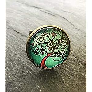 Handmade Lebensbaum Ring 20mm Motiv Glas-Cabochon bronze vintage Statement Damen handgefertigt türkis Baum Zauberbaum Bäumchen Schmuckphantasien uni size verstellbar