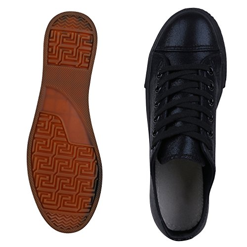 Elegante Damen Sneakers low | Glitzer Canvas Schuhe | Turnschuhe Freizeit | Gr. 36-41 Schwarz Total
