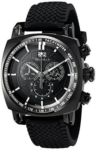 Ritmo Mundo Men's 2221/5 Black Racer Analog Display Swiss Quartz Black Watch