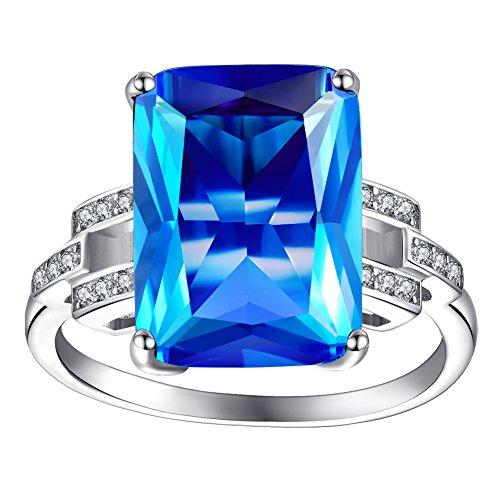 ZENI Damen Ringe Blue Sapphire Ringe 925 Sterling Silber Ringe Schmuck mit Luxus 9 CT für Damen
