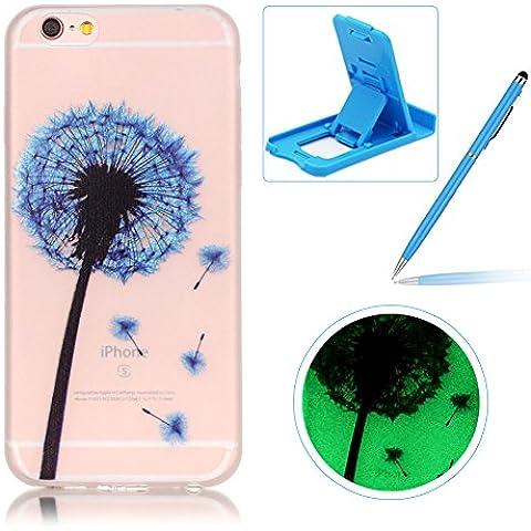 iPhone 6S Plus Funda Caucho de TPU cubierta de parachoques,iPhone 6 Plus [Noche Luminoso] Efecto fluorescente que brilla en la cubierta del caso de cáscara oscura piel suave transparente TPU de silicona,Herzzer [Anti-rasguños] Cubierta de la caja Funda protectora de Silicona caso delgado caso trasero Carcasa para iPhone 6 Plus/6S Plus 5.5 inch + 1 x Azul Soporte del teléfono + 1 x Azul Lápiz óptico - azul diente de león