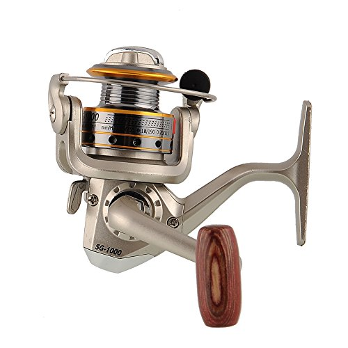 V-BLUE Angelrolle Aluminum Spinnrolle Links/Rechts austauschbare Klappgriff 5.1:1 Schwarz Gold 6BB Angelzubehör Angeln Rolle Fishing reel