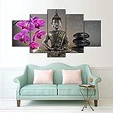 mmwin Decoración del hogar Arte Modular HD Impreso 5 Panel Flor Figura De Buda Sala de Estar Lienzo de Pared Fotos Cartel