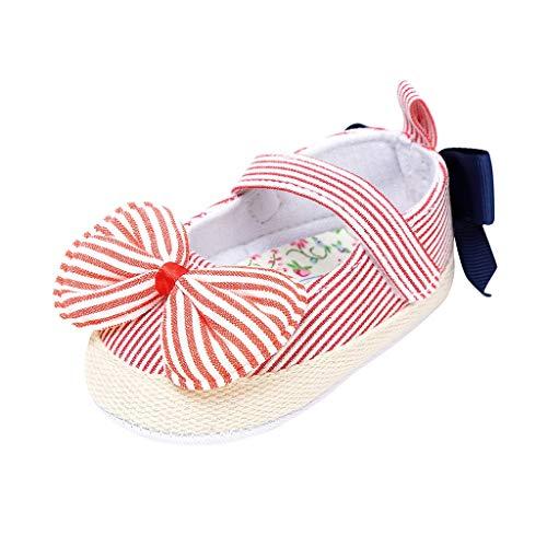 Alwayswin Baby Mädchen Bogen Knoten Klettverschluss Mode Süß Babyschuhe Gestreifte Klettverschluss Erste Wanderer Kind Schuhe Kleinkind Weicher Boden rutschfest Prinzessin Schuhe