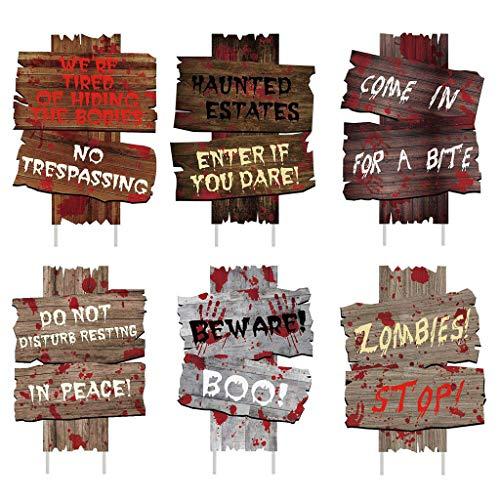 TwoCC Packung mit 6 Halloween Deko Gartenschilder Pflöcke Outdoor Deko Gruselige Zombies Vampirgräber Festival Partyzubehör Halloween Stakes Requisiten Deko