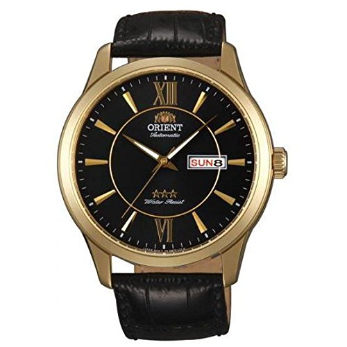 Orient Classic Automatic Gold Day Date Leather Band Mens Watch FEM7P004B9