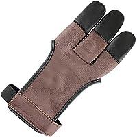 longbowmaker Traditioneller Schießhandschuh 3 Finger Leder Bogenschießen Handschuhe Fingerschutz AG31