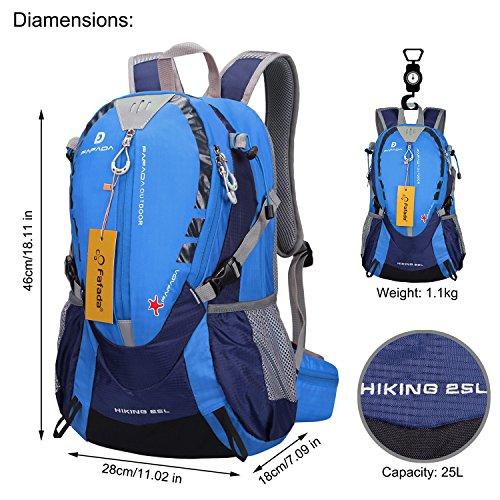 Imagen de fafada 25l unisex  de senderismo viaje marcha del deporte casual escalada trekking con cubierta de lluvia impermeable azul alternativa