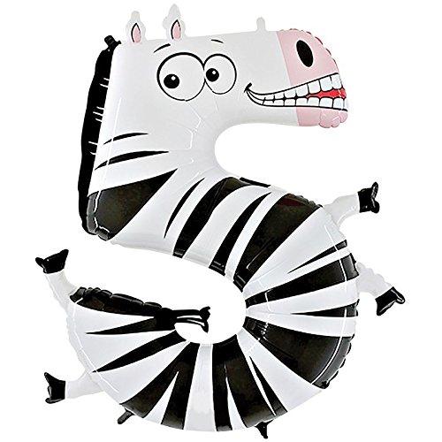 r 5 Zebra Animaloons Einzelpack, Länge 101,6 cm, mehrfarbig ()