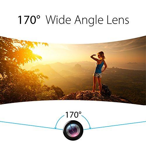 EKEN H8 Pro 4K Actionkamera, wasserdichte Full HD Wifi Sportkamera mit 4K30 / 1080P60 / 720P200fps Video, 12MP Foto und 170 Weitwinkelobjektiv, beinhaltet 17 Montagesätze, 2 Batterien (Schwarz) - 4