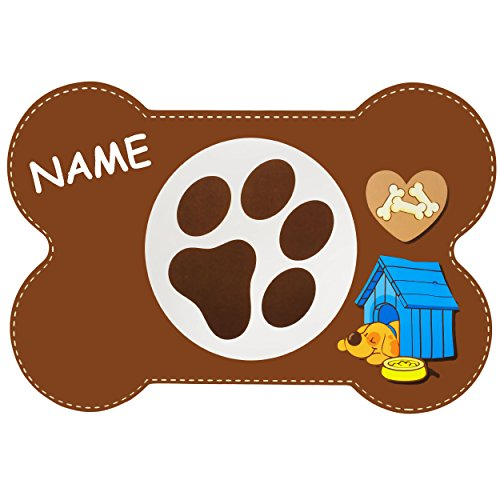 """2 Stück _ Haustier Unterlagen / Platzdeckchen - """" Hunde / Welpen - Knochen - BRAUN """" - inkl. Name - 44 cm * 29 cm - wasserfest - abwischbar & abwaschbar / biegbar - Napfunterlagen / Platzmatten / Tier - Futtermatten - groß - Hund & Katze - Platzset - Haustiere - Hunde Welpe / Hundehütte Kunststoff - Plastik - Kunststoffunterlagen / Plastikunterlagen - Füttermatten / Fütterunterlagen - Futternapfunterlagen - Tierfutter - Futterunterlage - Haustiernapf"""