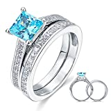 925 plata maciza 1,5 Carat corte de la princesa azul creado juego de boda anillo de compromiso con diamante