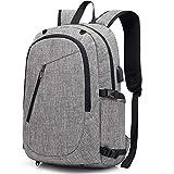 Della Gao Laptop-Rucksack, mit Netz-Tasche für Bälle,  USB-Ladeanschluss, leicht, wasserabweisend, Schule für 39,6 - 43,2cm (15,6 - 17 Zoll) Laptops/Notebooks, Schwarz