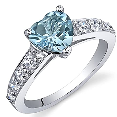 Revoni Dazzling Love 1.50 Carats Swiss Blue Topaz Ring in Sterling Silver Size N,