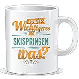 getshirts - RAHMENLOS® Geschenke - Tasse - Sportart Skispringen - es gibt wichtigeres als - petrol - uni uni