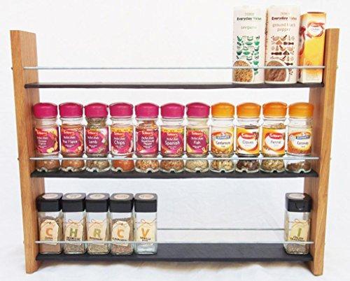 Design en Chêne massif et Ardoise.. Épice/Présentoir pour plantes.. 3 Niveaux, 36 pots - Style moderne contemporain - Étagères profondes pour les larges bocaux d'épices, boîtes, pots Kilner