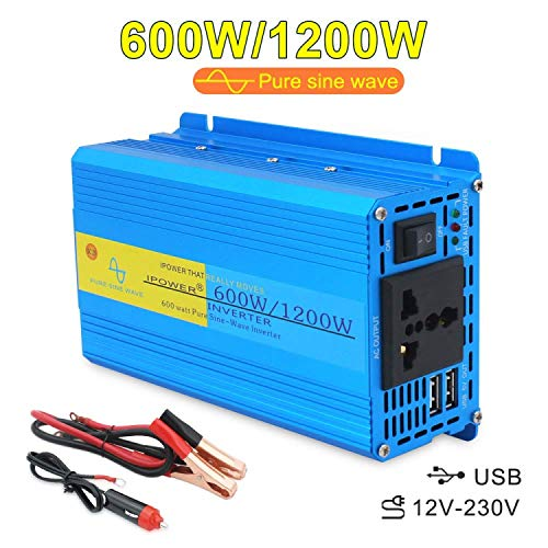 Cantonape Invertitore di potenza a onda sinusoidale pura da 600W/1200W (picco) DC 12V a 230V AC convertitore con presa universale con adattatore accendisigari in auto e clip a coccodrillo per batt