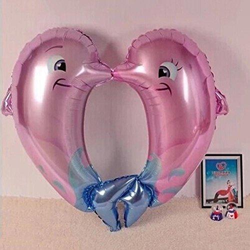 Teabelle Globos de aluminio con diseño de delfín besándose (40 x 40 cm)