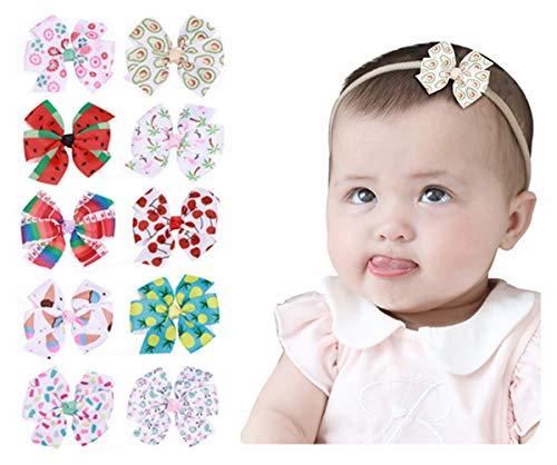 AIMIYan Nylon-Boutique-Haarbänder mit Schleife, für Neugeborene, Kleinkinder und Mädchen, 10 Stück