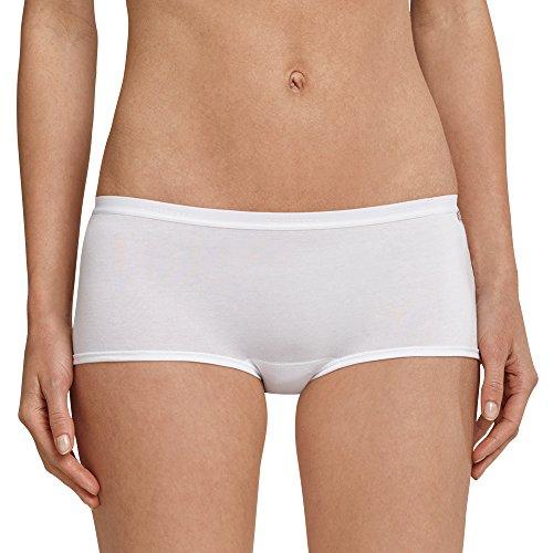 Schiesser Damen Panty, 3er Pack, Gr. 44, Weiß (weiss 100) (3er Tanga Baumwolle-elasthan Pack)