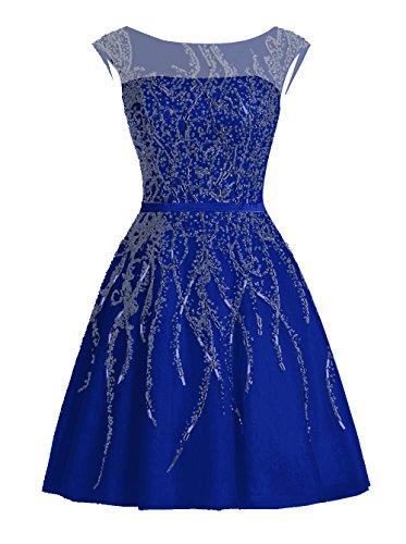 Dressystar Robe femme, Robe de bal courte élégante, à paillettes strass à fleur, en Tulle Bleu Saphir