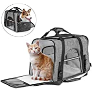CLEEBOURG Fashion Pet Carrier Bag, Large Dog Cat Travel Carrier Bags Lightweight Collapsible Mesh Soft Side Dog Kennel Crate for Adult/Baby Cats- Gray XXL