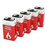 5 ANSMANN Rauchmelder Batterien Lithium 9V - 10 Jahre lagerfähige Brandmelder Batterie - Lithium E-Block für maximale Leistung - 9V Block für Feuermelder, Bewegungsmelder, Alarmanlagen & CO Melder