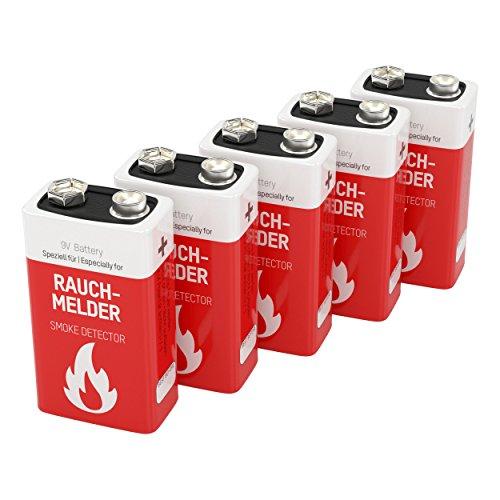 5 piles Lithium -format 9V- ANSMANN pour détecteur de fumée / stockage jusqu´á 10 ans / excellente qualité / idéal pour les détecteurs d'incendie, les systèmes d'alarme & les appareils médicaux