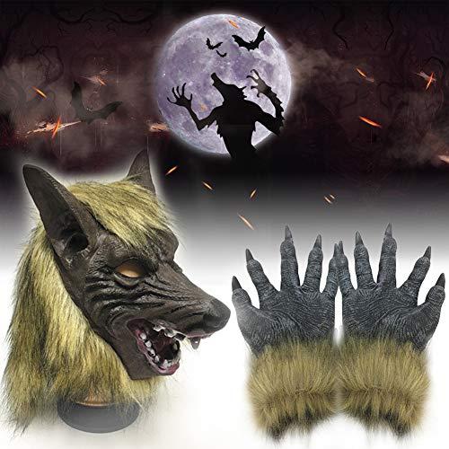 xnbnsj Halloween Maske Horror Teufel Kostüm Ball Requisiten Werwolf Cosplay Wolf Kopfbedeckung Handschuhe (Teufel Kostüm Maske)