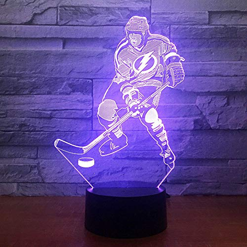 Ice Hockey Game 3D 7 Color Lamp Visual Led Night Lights For Kids Touch Usb Table Lampusb Rechargeable Athletes Sport Guy Boys Girls Present Decor For Office Study Wedding Bar Club Parties Wedding