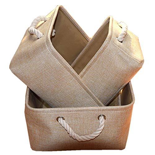 Zusammenklappbar Bettwäsche Lagerung (MMYOMI Wäschekorb Aufbewahrungskorb mit Griff Schrank Organizer Aufbewahrungsbox für Kleidung Handtücher Bettwäsche Leinen Zusammenklappbar Aufbewahrungsbox (beige, 32 * 22 * 15))